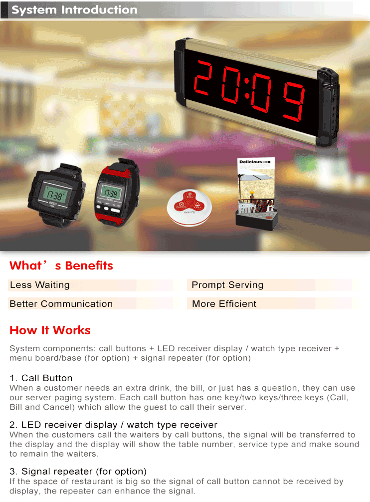 Meeyi Signal Repeater Wireless Wiater Call System Mini Guest Call Button Kitchen Restaurant Receiver Wrist Watch Pager