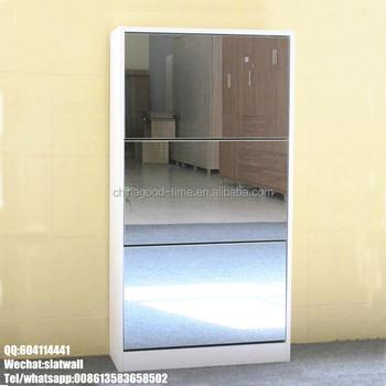 Melamine Shoe Rack MDF Shoe Storage Mirror Cabinet Wooden Shoe Cabinet With  Mirror