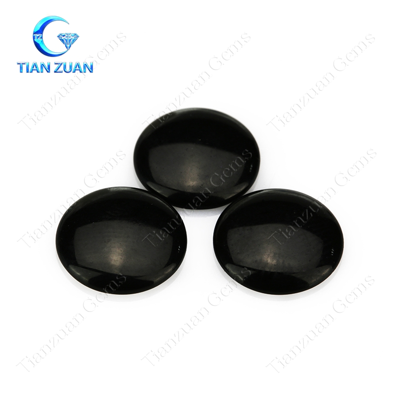 Flat back cabochon round shape black color onyx natural stone for ring