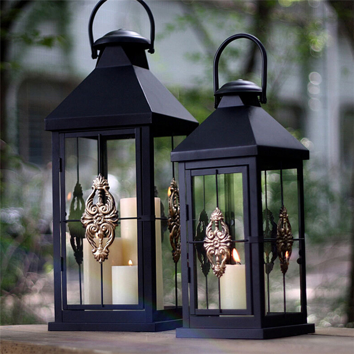 Iron arts and crafts Retro portable Lantern floor standing metal candle holders
