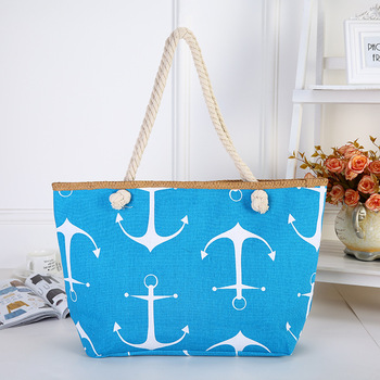 The new female bag beach affairs is han edition tide leisure printed cotton rope anchor canvas bag