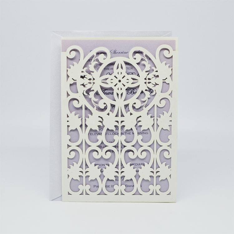Latest design laser cut pocket wedding invitation cards