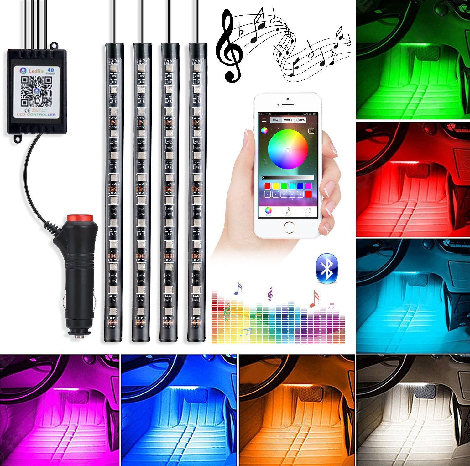 Automotive LED Decor Strip Lights, 4pcs 48 LED Lights DV 12V Car Colorful Music RGB LED Interior Lighting, Car Decorative Lights, With Sound-activated, APP Controller, Car Charger Included