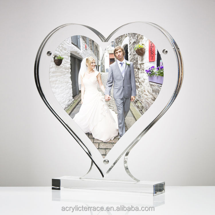 heart shaped photo frame made in clear acrylic throughout
