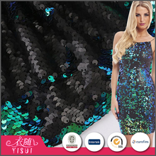 Professional custom made glitter color changing reversible sequins fabric for party dress