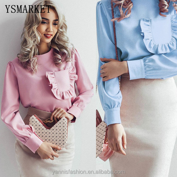 YSMARKET Vintage Ruffle Pocket Pink Blouse Long Sleeve Shirt Women Elegant Round Neck Casual Womens Tops And Blusas 2018 E5151