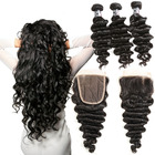 Brazilian Raw Hair Natural Deep Wave 3 Bundles With 4x4 Lace Closure Human Hair Extension Online Order
