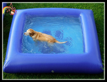 Inflatable dog pool outdoor pets swimming water summer for Garden pool for dogs