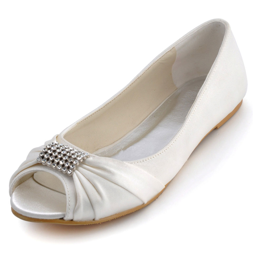 Flat White Wedding Shoes Cheap