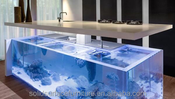 Superbe 2017 Hot Sale Acrylic Solid Surface Bar Counter Aquarium Fish Tank Used  Illuminated Led