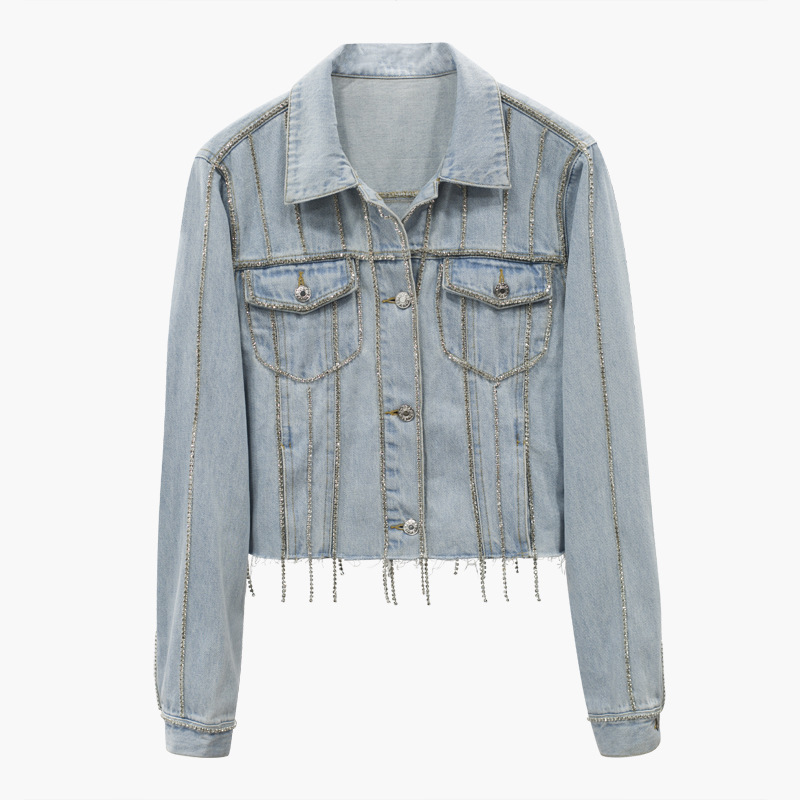 Alibaba.com / Stock women fashion cool Casual Slim fit Short light blue silver bling Rhinestone crystals beading tassels denim jacket coat