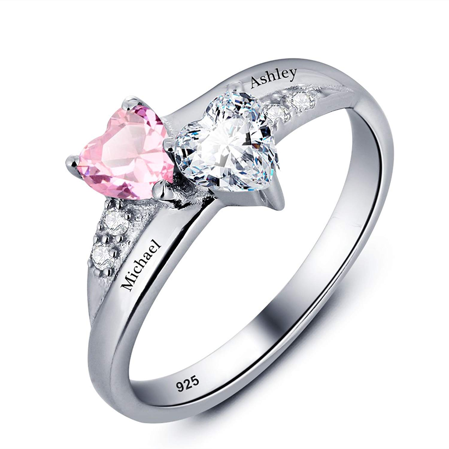 c27462ec5e To I LOVE Promise Rings for Her Personalized 2 Simulated Birthstones Rings  Customized Engagement Rings Wedding