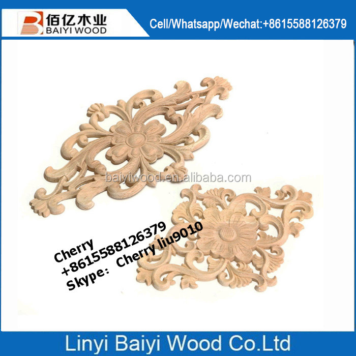 European style wood carving mouldings decoration timber applique and onlay