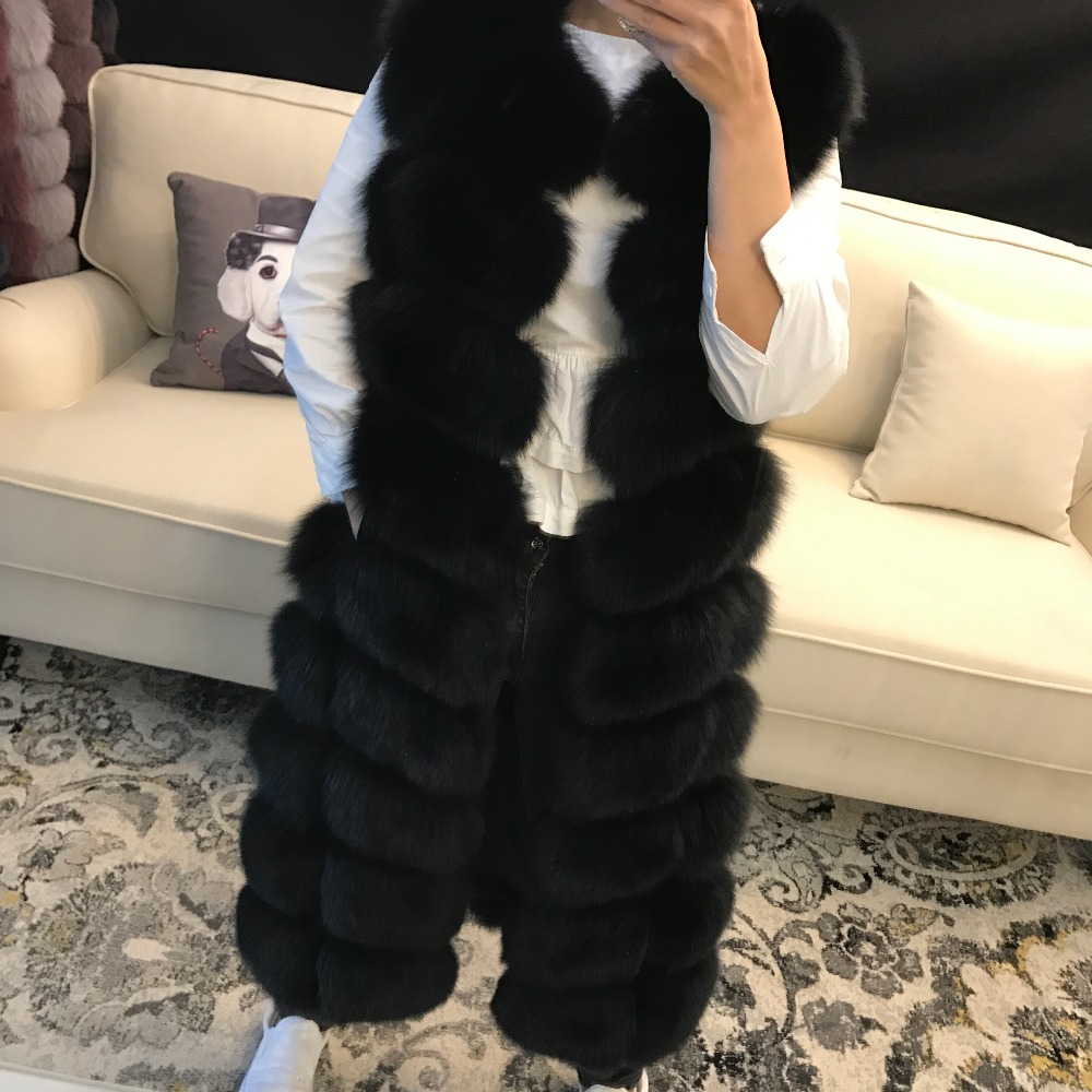 women high quality full pelt long real fox fur vest ladies winter warm soft natural fox fur vest gilet