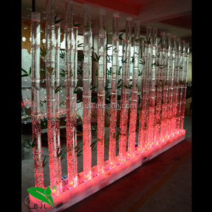 Acrylic decoration for restaurant hotel led water bubble wall fountain with bamboo leaves