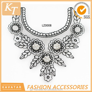 Popular design pearl beaded embroidery design collar for lady dress
