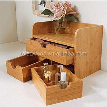 Desktop Organizer 3 Tier Mini Desk Makeup With Drawers Bamboo Brown