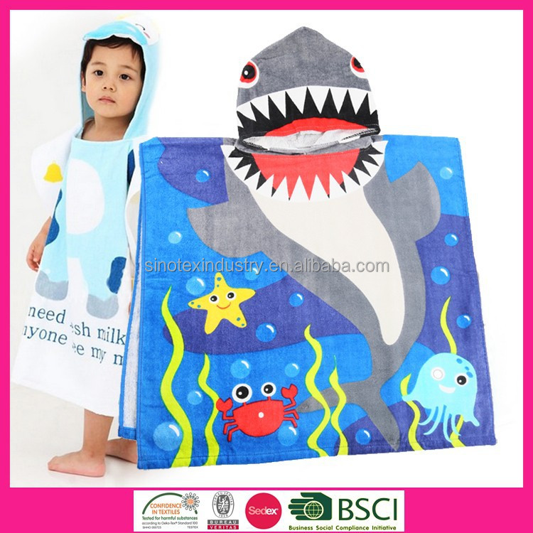 Kids style 100% cotton poncho hooded beach towel