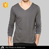 Fashion custom cotton v neck long sleeve t shirt