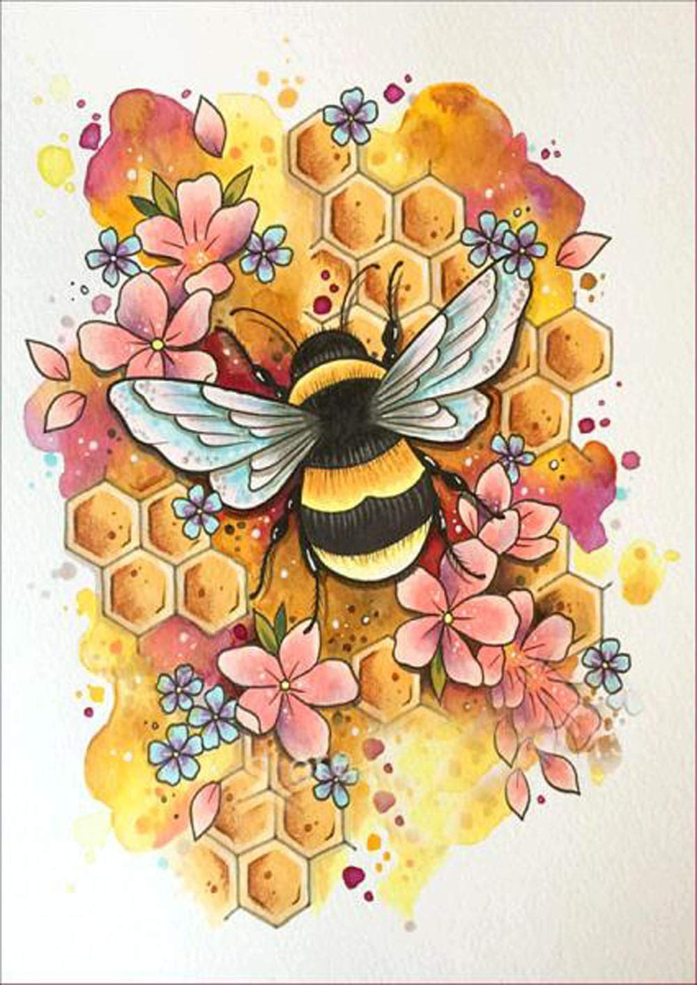 Rumas 5D DIY Bee Diamond Paintings Kits 30 X 40 cm - Non-Fade Embroidery Painting Home Wall Decor - Rhinestone Paste Cross Stitch Ornament for Kids Room Entrance Bathroom (Multicolor)