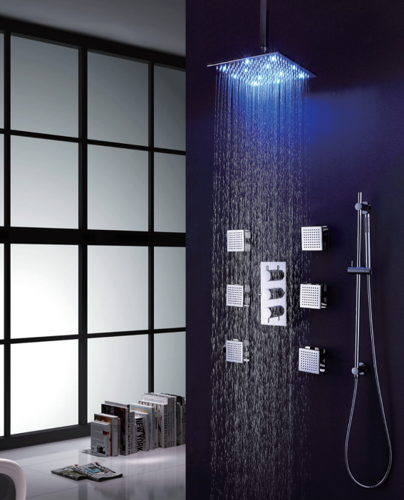 Brass led exposed rain square head set shower set,Factory direct sale