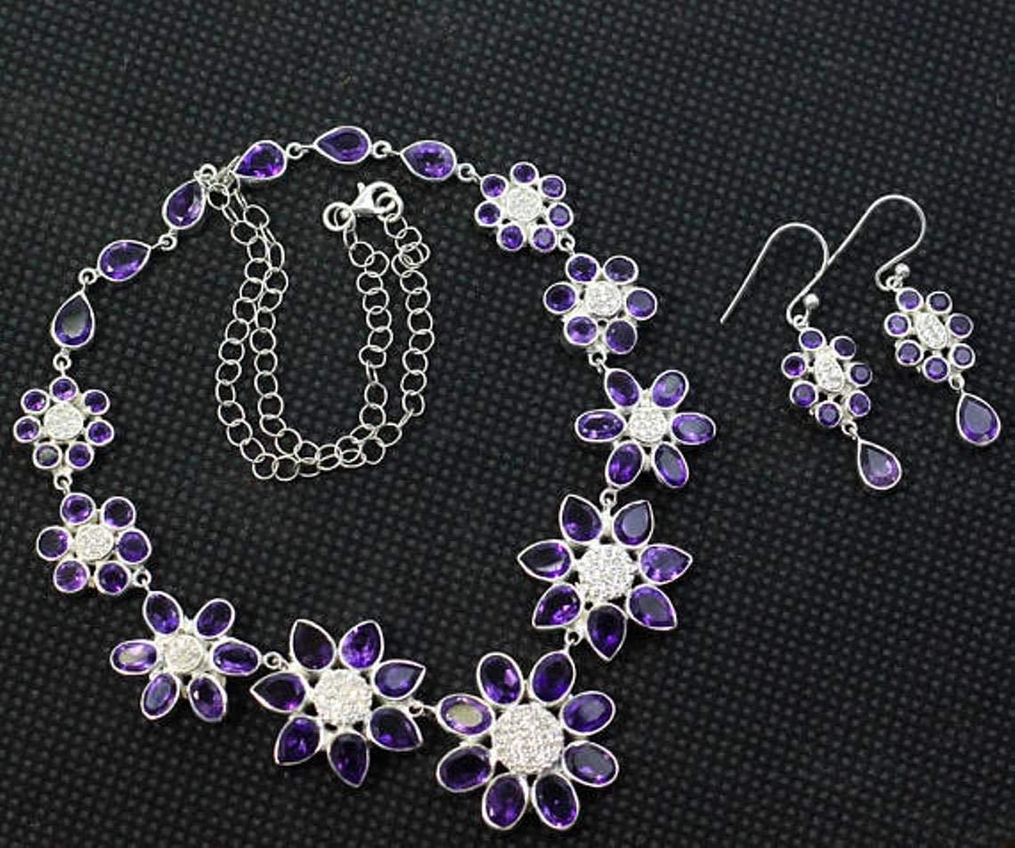 925 Silver Jewelry Set, Amethyst Earring, Amethyst necklace, Amethyst Jewelry, Womens Jewelry Set, Wedding Jewelry