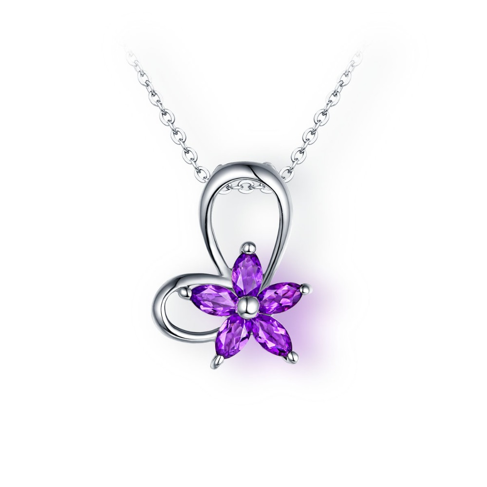 Dainty necklace Purple <strong>Natural</strong> <strong>Amethyst</strong> Flowers Marquise Gemstone <strong>Pendant</strong> for necklace