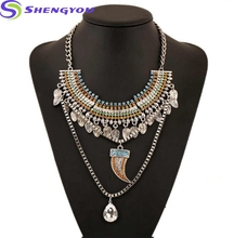 2018 Gypsy Ethnic Bohemian Leaf Tassels And Crystal Pendants Necklace Choker Pepper Boho Statement Bib Chunky Necklace