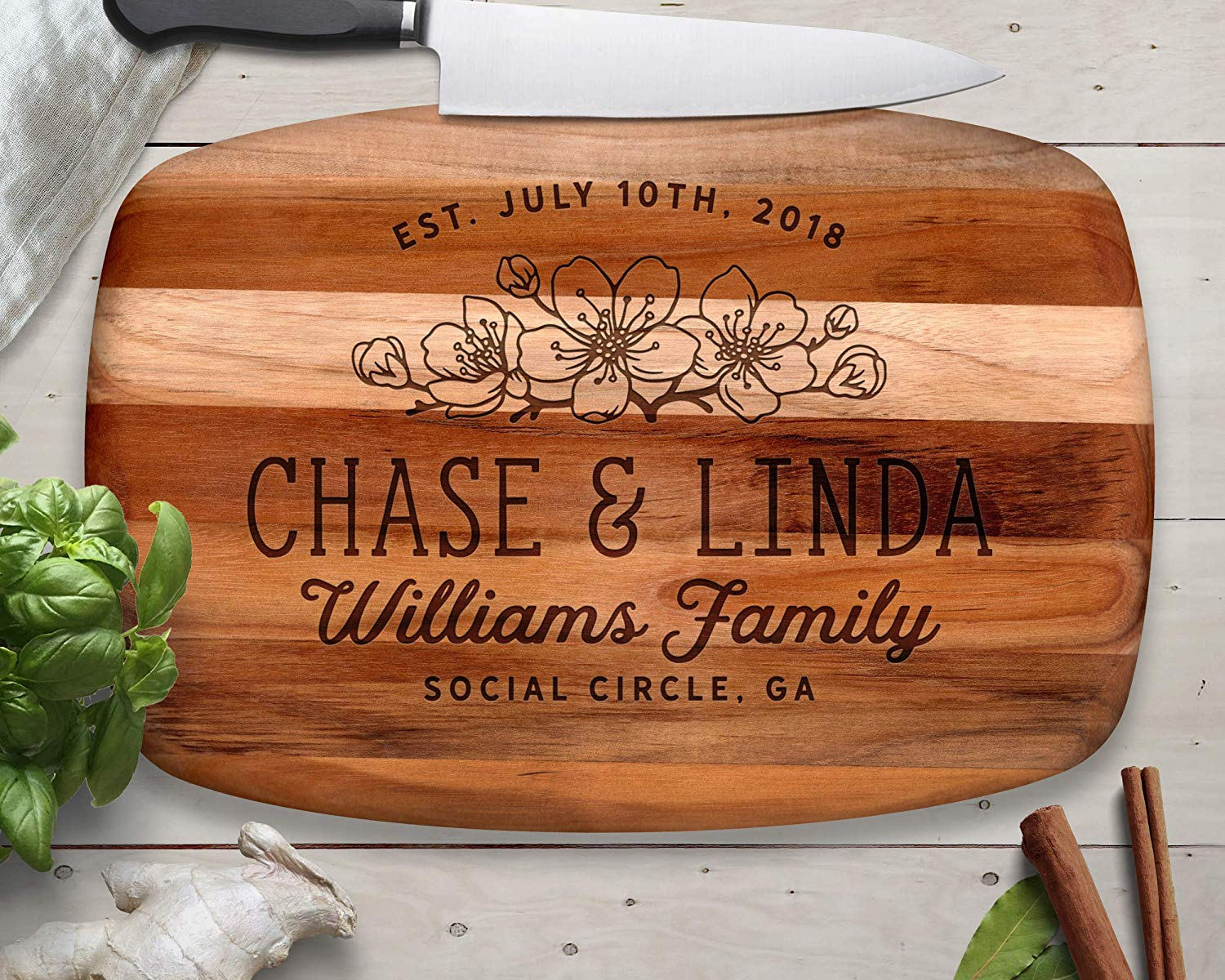 Flower Decor, Cheese board, Teak, Cutting Board, Custom Cutting Board, Wood Cutting Board, Personalized Cutting Board, Serving Board, Personalized Gift, Wedding Gift, Anniversary Gift, Christmas