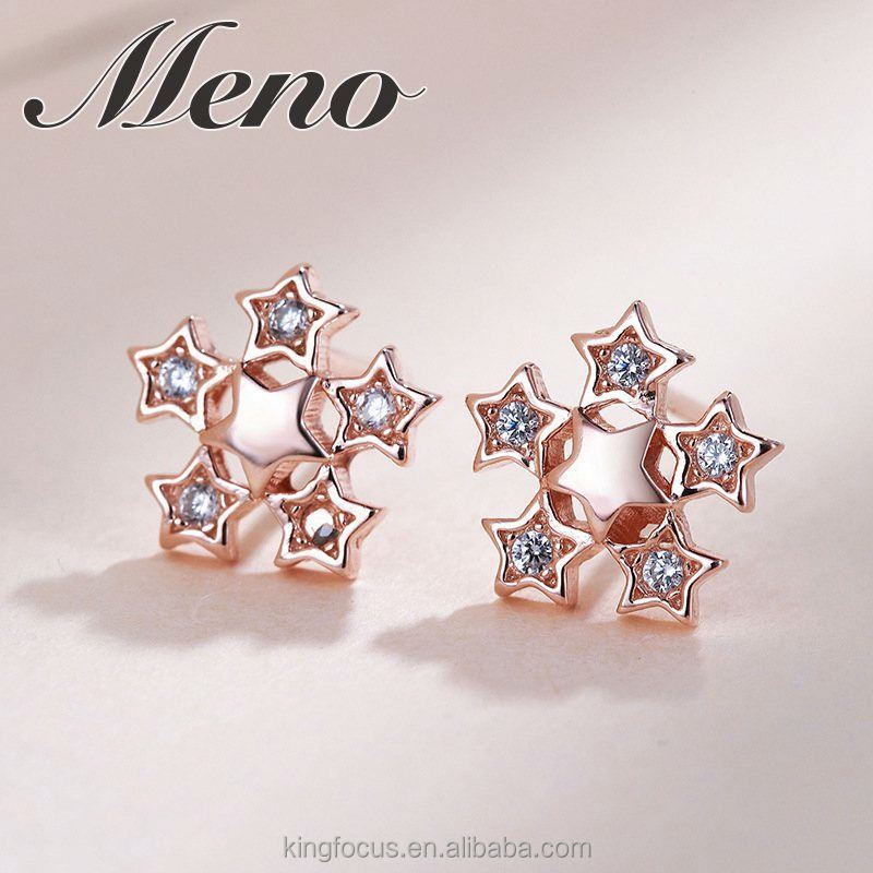 Meno S925 silver fashion Japanese snowflake stud rose gold plated