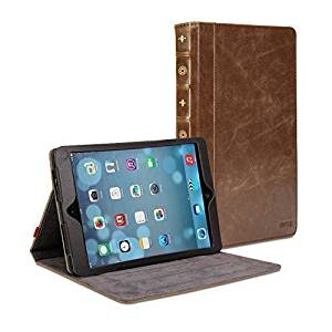 iPad Air Case, Book Case Vintage for iPad Air /iPad Air 2 - Brown PU Leather Protective Book style Flip Folio Slim Fit Stand Case Cover