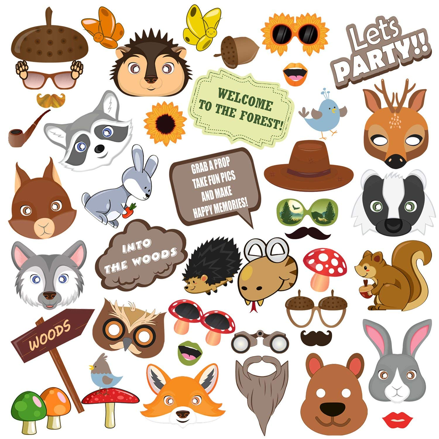Woodland Animals Photo booth Props, BizoeRade 45pcs Woodland Baby Shower Photo Props, Woodland Animals Decor, Woodland Creatures Baby Shower Party Favor Supplies for Woodland Party