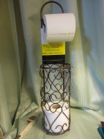 Romantic Heart Toilet Tissue Paper Roll Holder w/ Bath Caddy Stand