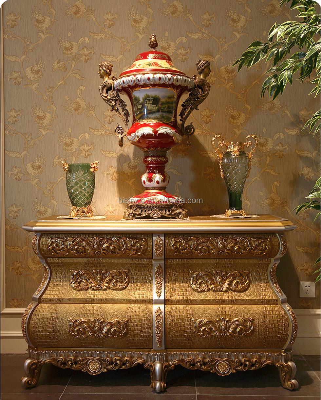 Rococo frans ontwerp gouden ronde eettafel met lederen stoel voor ...