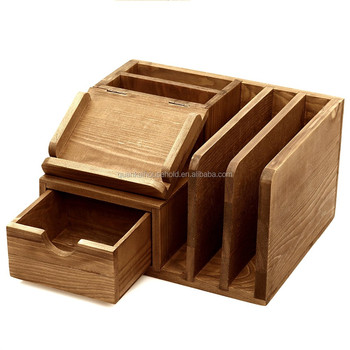Natural Bamboo Wood Desktop Office Supplies Storage Organizer Mail Sorter Post It Note Memo