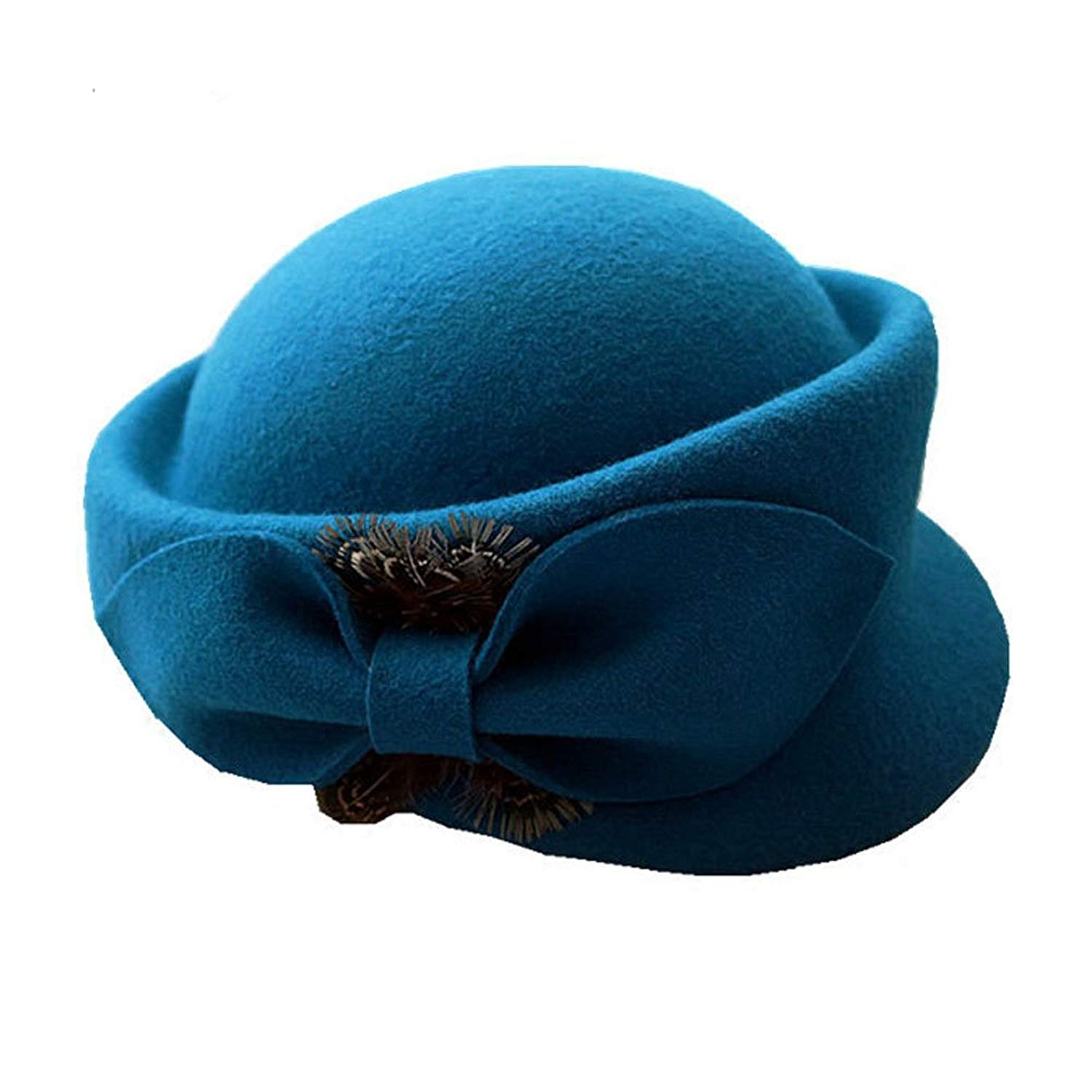 86f3cd2ab8f Get Quotations · Queenestar Feather Beret Hat Peacock Wool Pillbox Cap  Wedding Hat Stewardess Cap