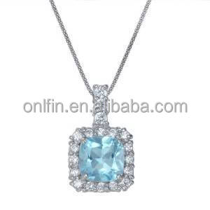 Fashion 925 Sterling Silver Gemstone Pendant With 18inch Chain,Silver Blue Topaz Necklace
