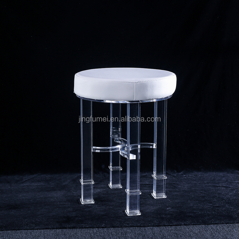 Customize Clear acrylic vanity stool transparent plastic swivel bar high chair