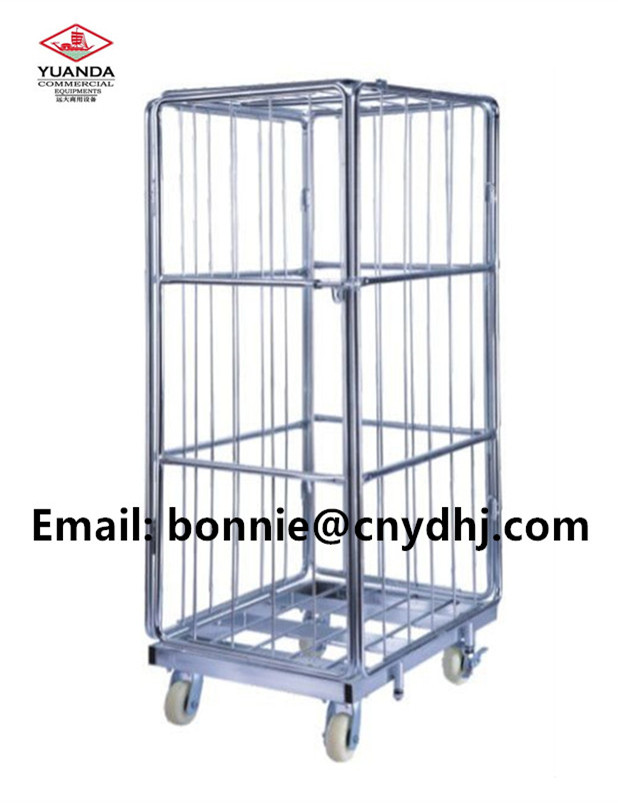 Warehouse wire mesh storage roll container/ cage trolley Wire Mesh Cargo Storage Roll Cage for transporting in mall