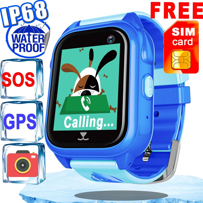 [Free Speedtalk SIM]Kids Smart Watch Phone Accurate GPS Tracker Waterproof IP68 Girl Boy Fitness Tracker Sport Wrist Watch Game Pedometer Camera Anti-lost SOS Birthday Gift Learn Toy,Swim Run Device