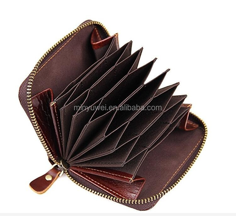 Excellent rfid blocking Genuine Cow Leather accordion credit card holder with zipper