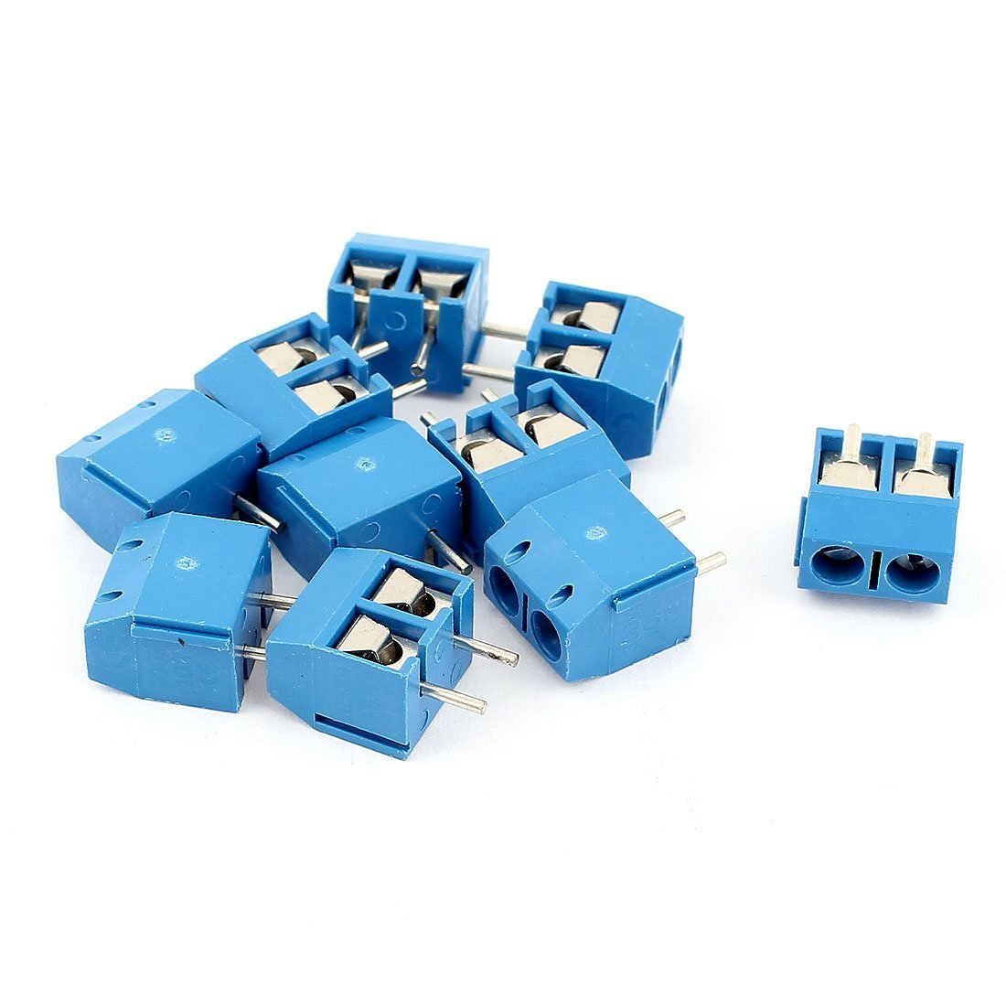 uxcell 10 Pcs 2 Way AC 300V 10A PCB Terminal Block Connector 5.0mm Pitch Blue
