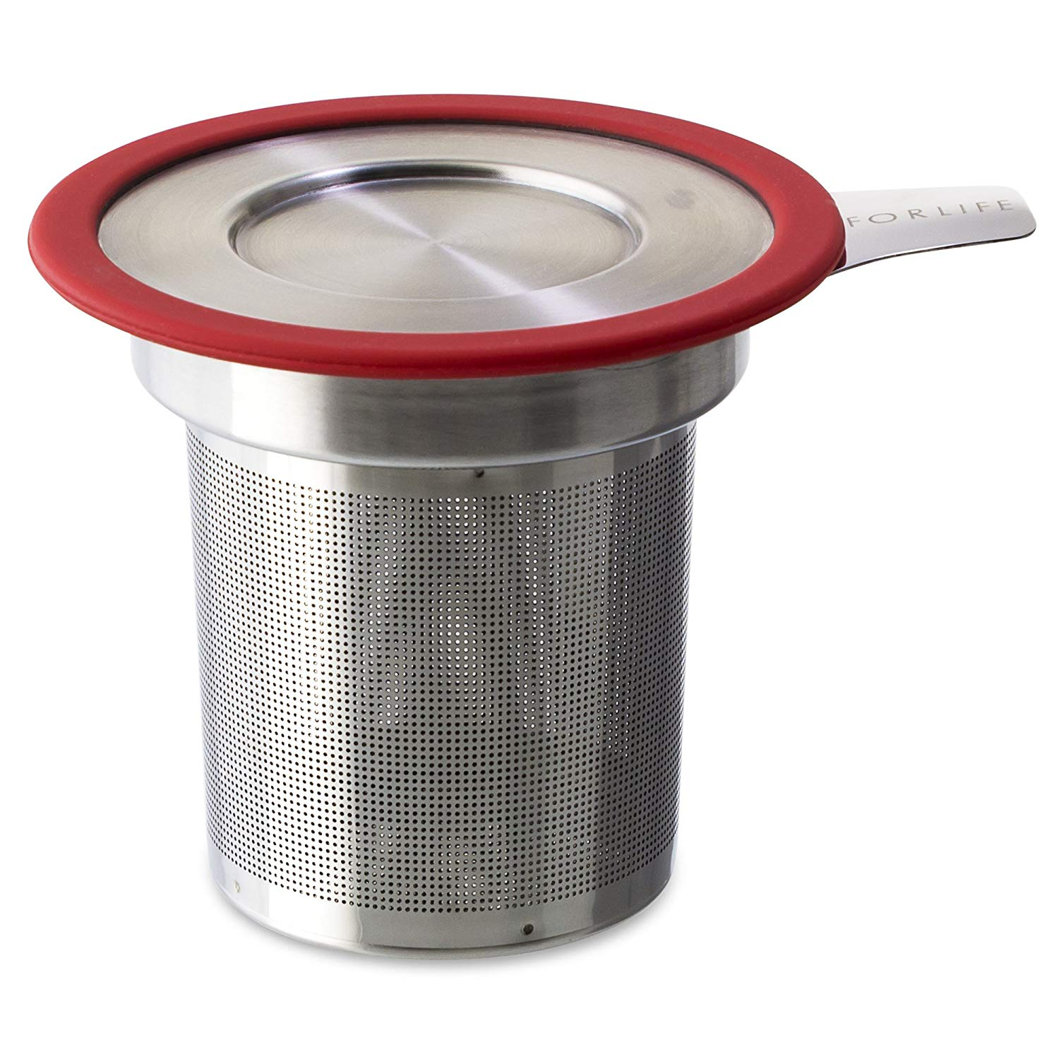FORLIFE Brew-in-Mug Extra-Fine Tea Infuser with Lid, Red