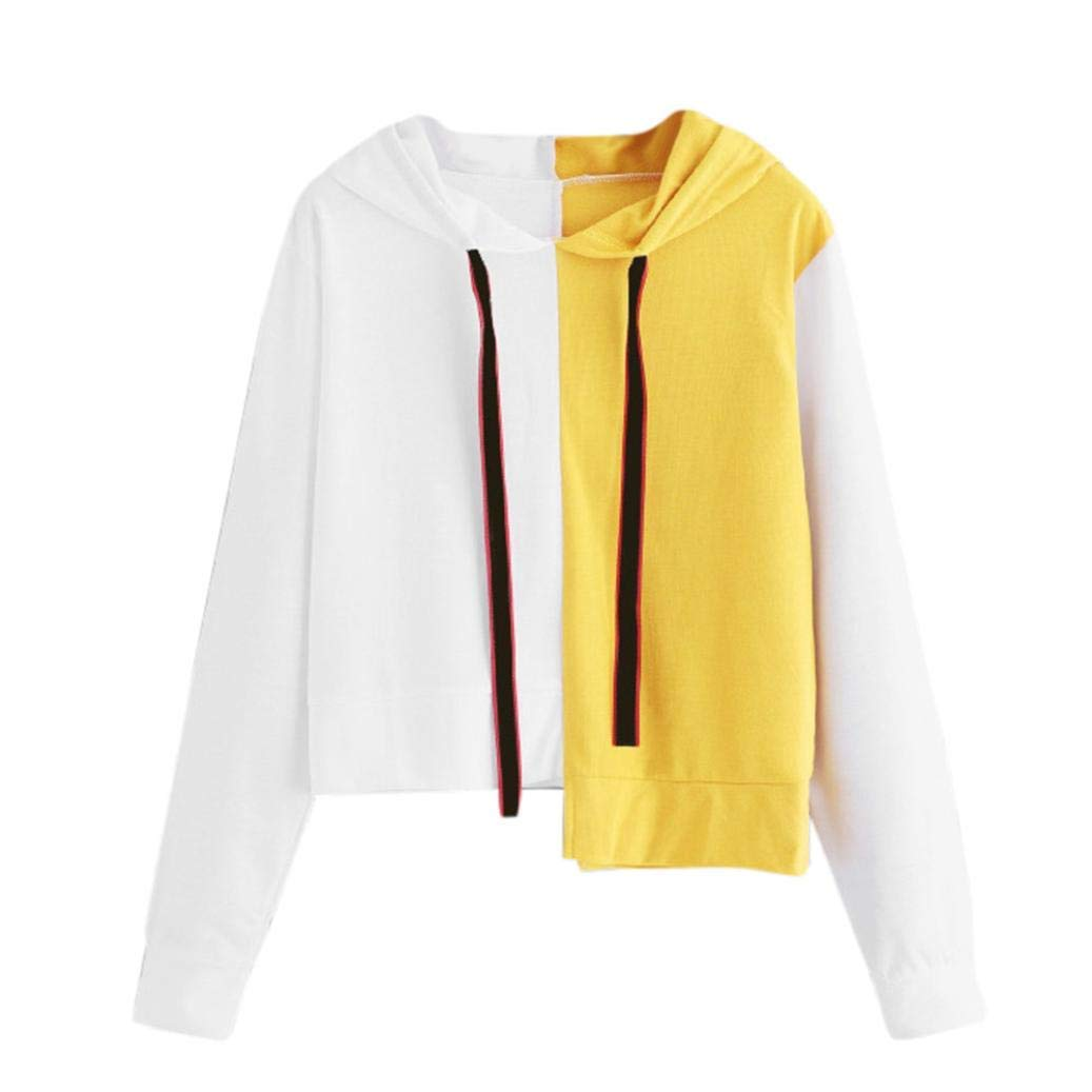 Snowfoller Women Patchwork Sweatshirt Casual Long Sleeve Blouse Casual Color Block Hooded Pullover Tops Asymmetrical Shirt