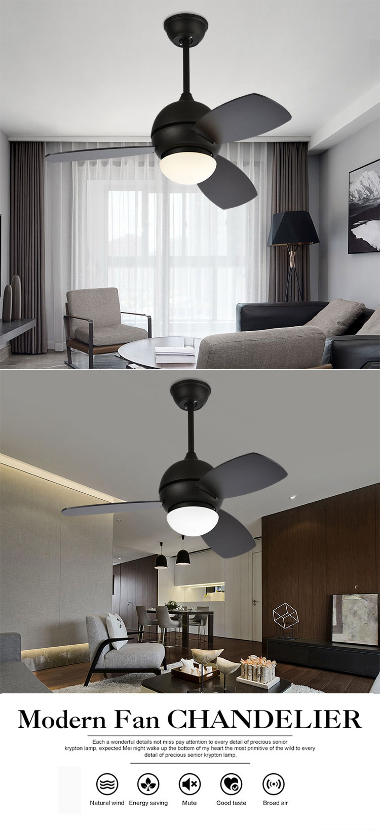Best price decorative fan light low price matte black 60w ceiling fan