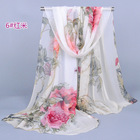 2018 peony flower chiffon georgette silk shawl women's scarves spring autumn summer sun modern hijab style wholesale