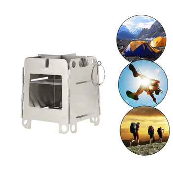 Lightweight Folding Pocket Stove Outdoor Camping Backpacking Cooking Picnic Stainless Steel Portable Wood Stove