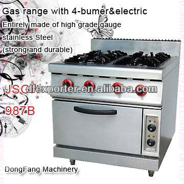 gas cooker and oven JSGH-987B gas range with 4-bumer with electric oven