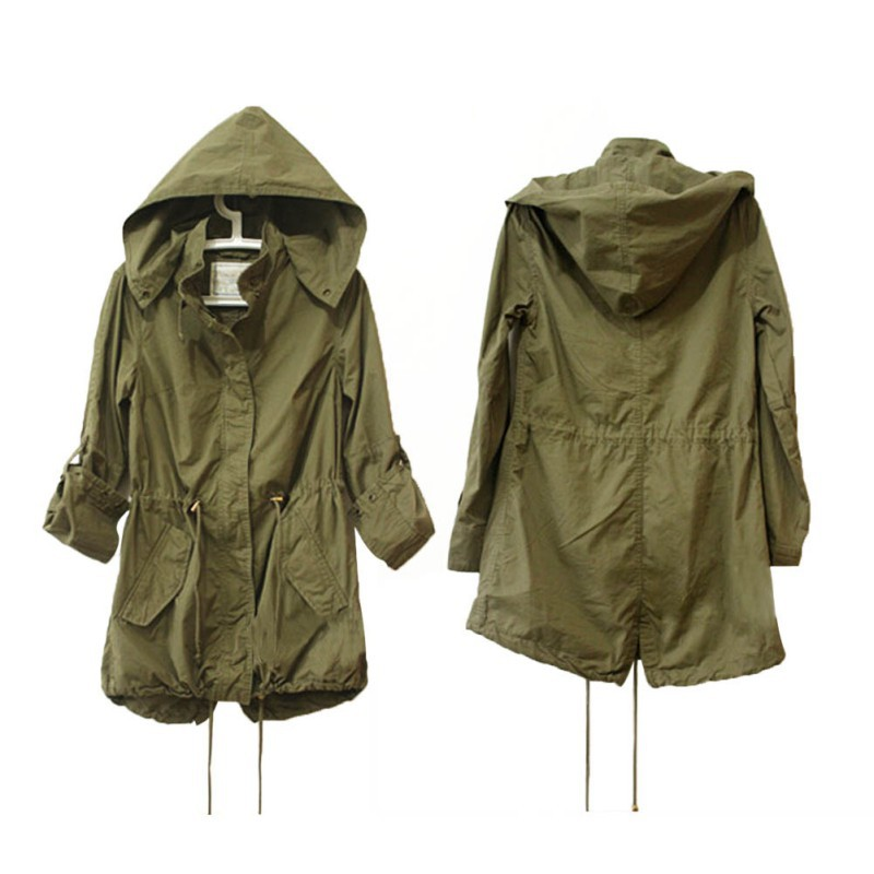 05558105693cd Women Winter Army Green Parka Trench Hooded Coat Warm Jacket ...