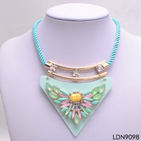 Collage crystal and acrylic butterfly necklace with sky blue cord triangle jewelry suble moss encrusted